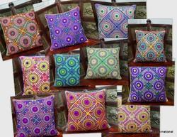 Handmade Mirror Work Hand Embroidered Cushion Cover