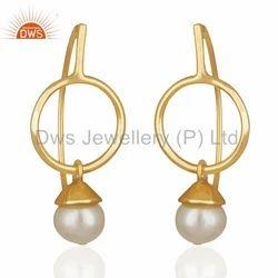 Handmade 925 Silver Gold Plated Pearl Drop Earrings