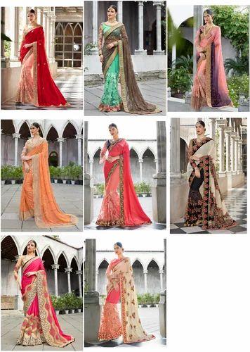b994e4cb3e Georgette Saree - Embroidered Net Chiffon Art Silk Wedding Saree ...