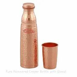 Hammered Copper Glass Bottle