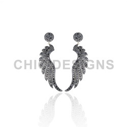 Black Spinal Angle Wings Earrings