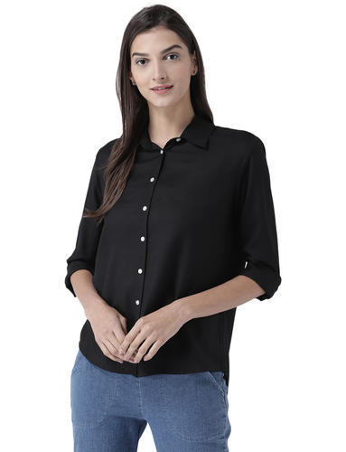 52d40549f3c5f Ladies Designer Top - Womens Classic Black Button Down Shirt ...