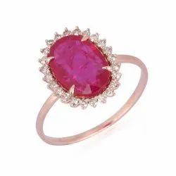 Natural Ruby Gemstone Gold Ring