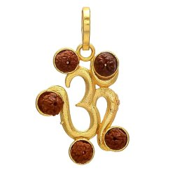 Designer Party Wear Synthetic Navratan Or Navgrah Brass Om With Five Rudraksha