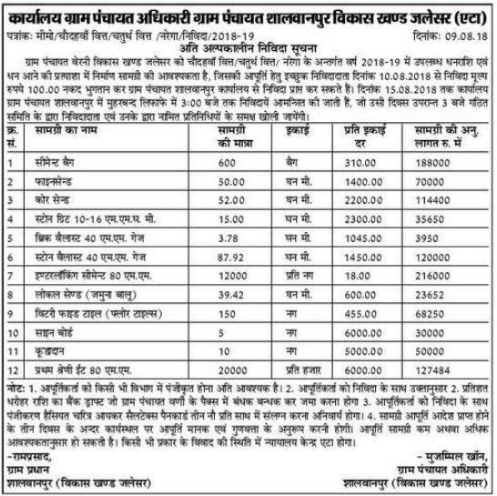 Supply Of Interlocking Cement 80 MM In Shalwanpur At Etah | Tenders