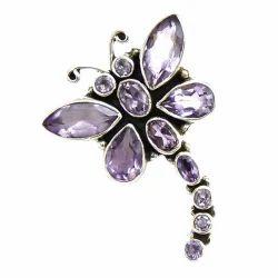 925 Sterling Silver Butterfly Amethyst Pendant