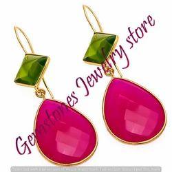 Fuchsia Chalcedony Earring