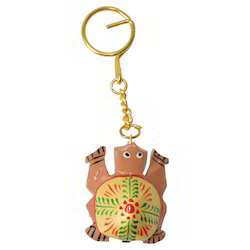Wooden Painted Tortoise Keychain