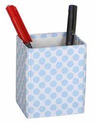 Paper Blue White Polka Dot Printed Pen Holder