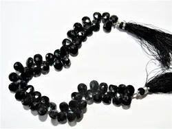 Black Spinel Faceted Gemstone Briolet Beads