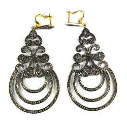 Natural Pave Diamond 925 Sterling Silver Chandelier Earrings