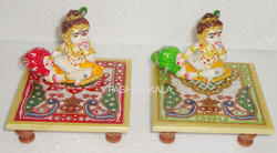 Marble Gold Painted Chowki Krishna
