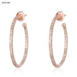 Pave Diamond Gold Hoop Earrings