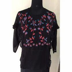 Ladies Black Embroidery Top