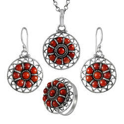 925 Sterling Silver Coral Earrings Pendant Ring Set
