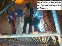 High Velocity Arc Wire Spray Coating On Furnace Eblow