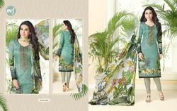 Printed V Neck Essenza Salwar Suit Fabric