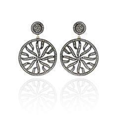 Diamond Silver Filigree Earrings