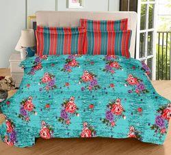Always Plus Green, Pink, Orrange Cotton Double Bedsheet