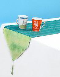 Cotton Tie Dye Emerald Green Kantha Work Table Runner