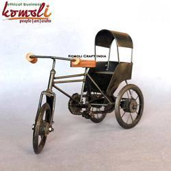 Black Wrought Iron Tricycle Rickshaw Indian Handicraft Home Decor