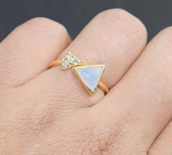 Blue Chalcedony and Blue Topaz Stackable Gemstone Ring