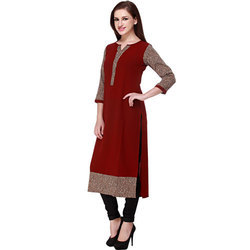 Cottinfab Solid Women's Animal Printed Kurta