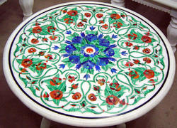 Round Stone Marble Inlay Table Top