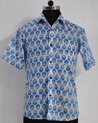 Hand Block Printed Shirt mens Cotton