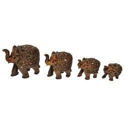 Wooden Stone Elephant Set
