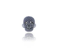 Blue Sapphire Skull Charm Ring