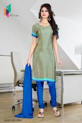 Green and Blue Italian Crepe Uniform Salwar Kameez