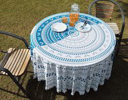 Pom Pom Lace Yin Yang Aqua Green Cotton Tablecloth