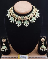 Kundan Antique Mint Necklace Set