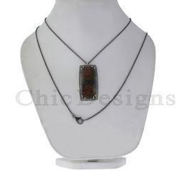 Ammolite Diamond Silver Necklace