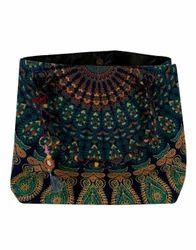 Blue Mandala Peacock Floral Printed Cotton Travel Hand Bag