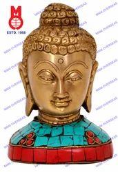 W/Base & Stone Work Buddha Bust Statues