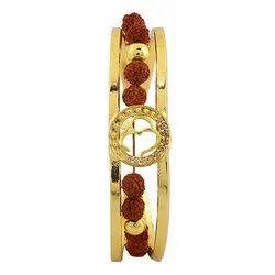Rudraksha Gold Plated Brass Material Om Cuff Kada Bracelet For Men