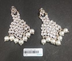 American Diamond Pearl Brass Earrings