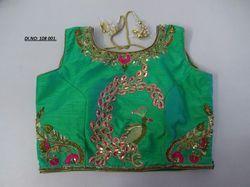 Green Banglori Silk Stitched Blouse