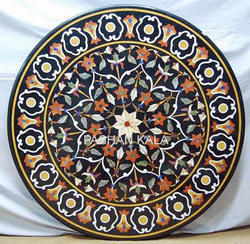 Round Stone Inlay Coffee Table Top