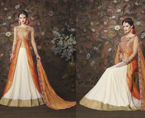 Orange And Off White Indo Western Suits