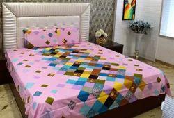 Always Plus Cotton Mulit-Color Blue Double Floral Bedsheet