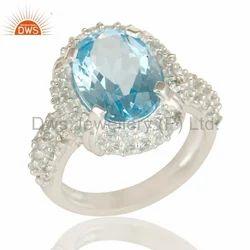 Blue Topaz Gemstone 925 Silver Wedding Ring