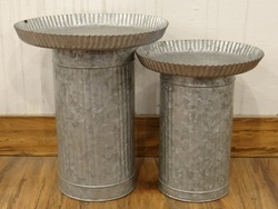 Galvanised Cake Stand, Set Of 2