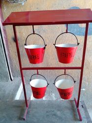 Fire Safety Protection Fire Bucket Stand With Canopy