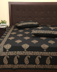 Gold Paisley Printed Black Cotton Personalized Bedsheets