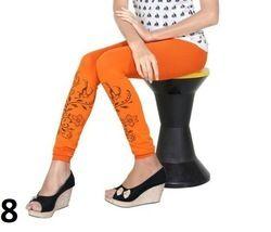 Orange Printed Cotton Lycra Leggings