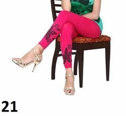 Pink Printed Cotton Lycra Leggings