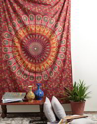 Mandala Red Floral Printed Wall Hanging Cotton Tapestry